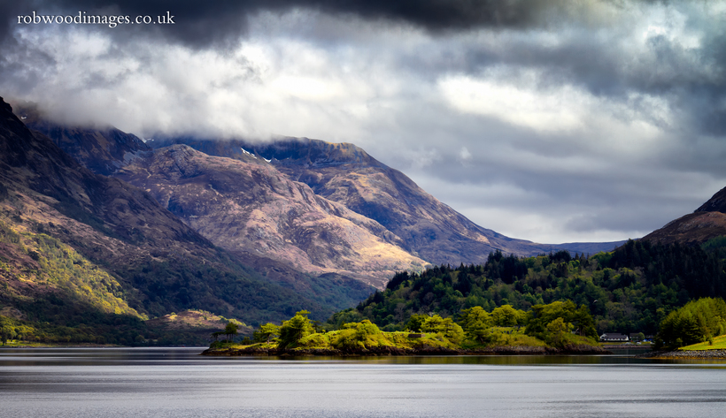 Looking across Loch Leven to the 'Pap of Glencoe', Scottish Highlands.