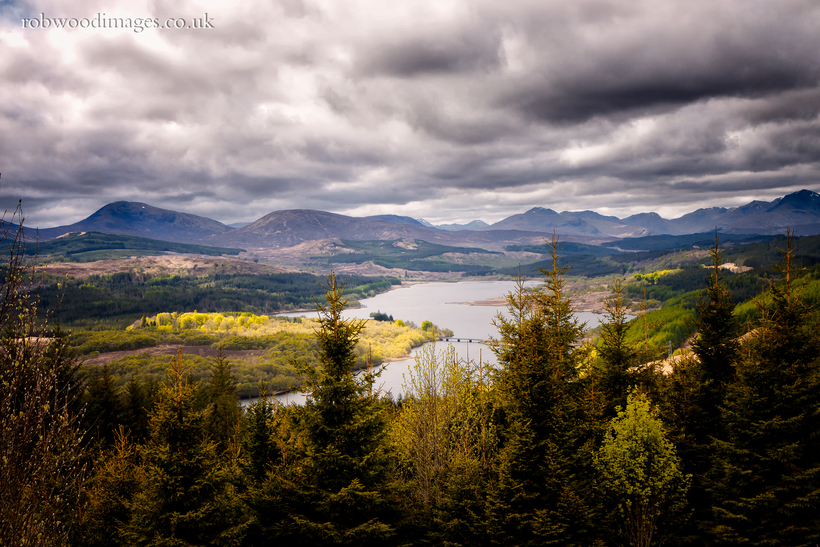 Loch Garry in the Scottish Highlands. The sun breaking briefly through the clouds to light up the foliage