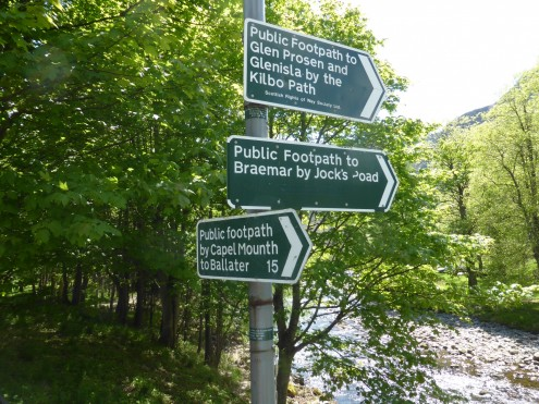 Signs for various walks at Glen Doll