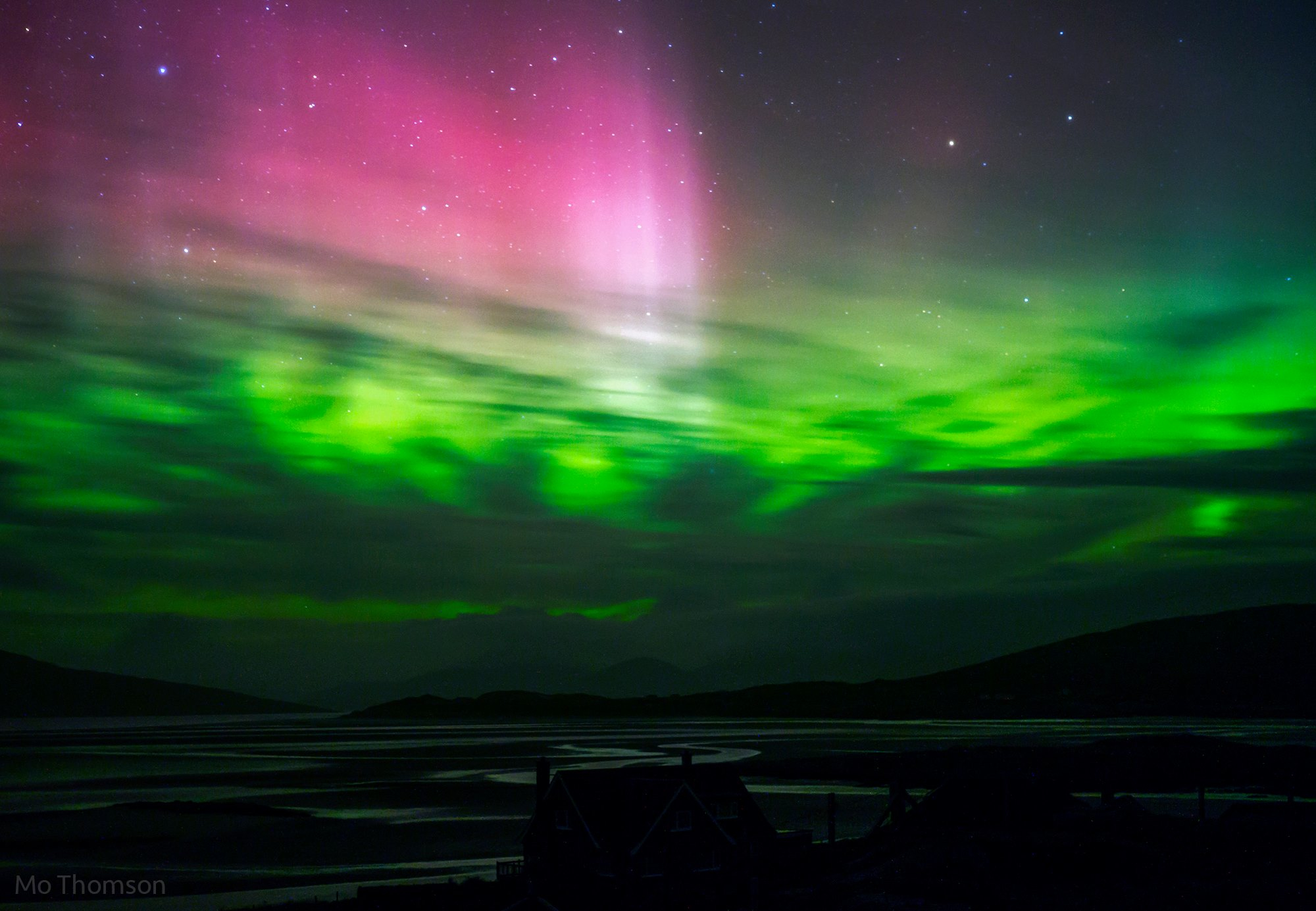 My first sighting of the northen lights above north Harris hills