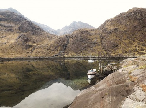 Misty Isle at the Coruisk landing steps in Loch na Cuilce. Photo credit: Misty Isle Boat Trips