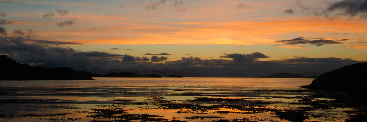 Plockton Coral – sunset views across to Raasay and the Cullins