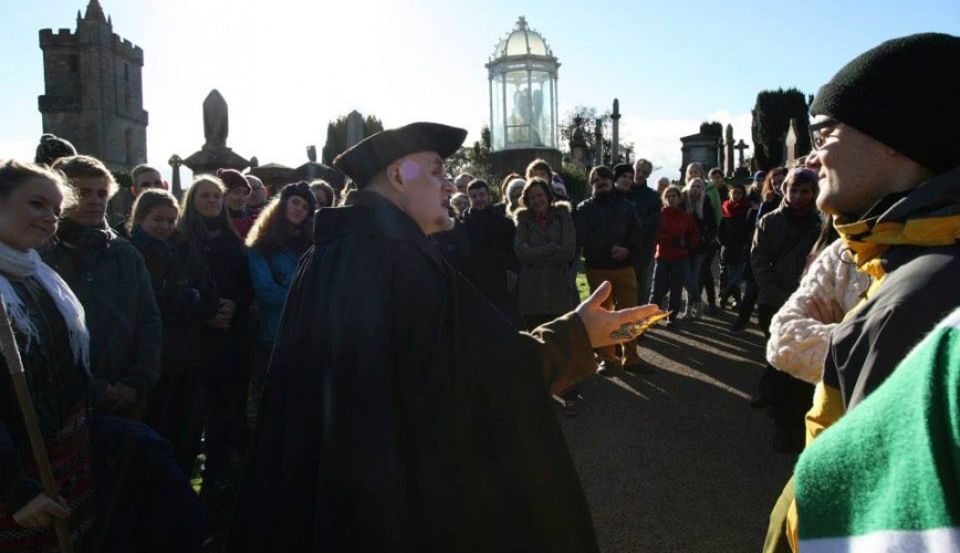 Stirling GhostWalk 3 - All Audiences Great & Small - The Hangman entertains 60 German choristers on a rare daytime tour (2013).