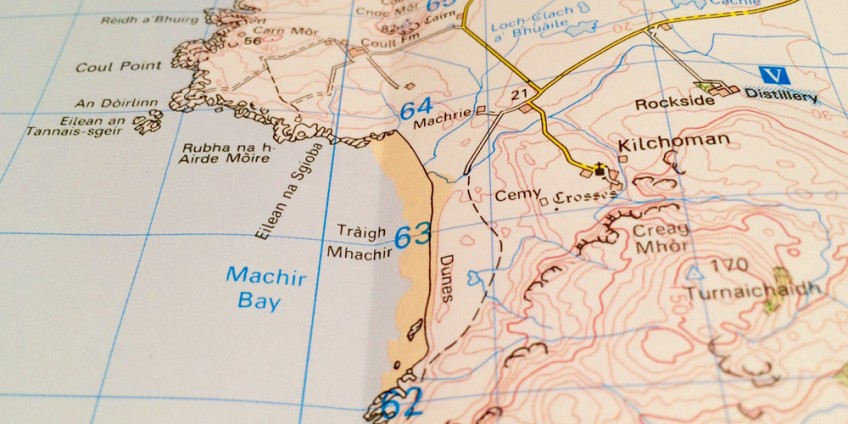 Islay, surfing, map, Machir, beach